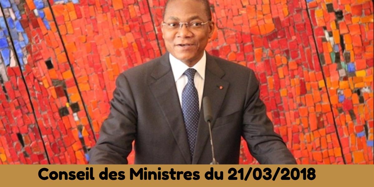 Conseil des Ministres du 21/13/2018
