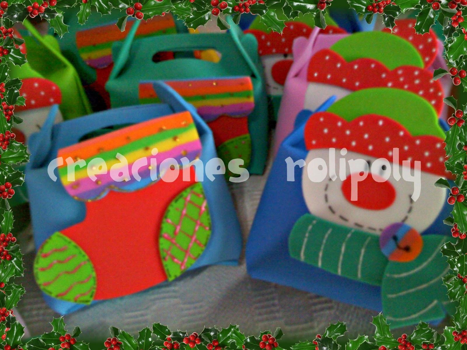 Creaciones rolipoly cajitas golosineros con adornos navide os for Manualidades souvenirs navidenos