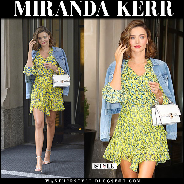 Miranda Kerr in yellow floral print mini dress tanya taylor, denim jacket and silver sandals aquazzura purist september 15 2017 fashion