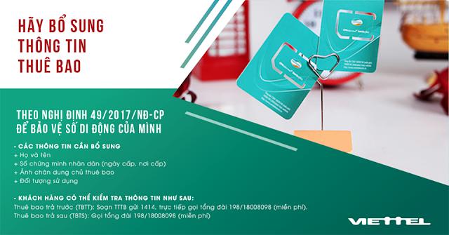 Cách tra cứu, bổ sung thông tin chính chủ cho thuê bao Viettel  tại nhà và cửa hàng theo nghị định 49/2017/NĐ-CP