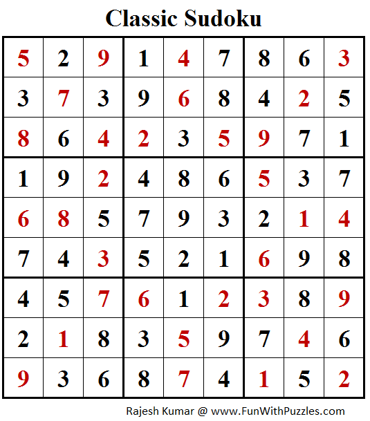 Classic Sudoku (Fun With Sudoku #254) Puzzle Solution