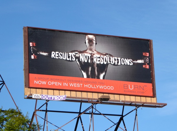 Results not Resolutions Burn 60 gym billboard