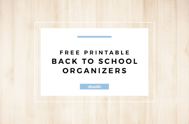 Free Printable Back to School Organizers including School Lunchbox Planner, Lunch Box Notes, Kid's Chores, Kid's Homework Planner, School Uniform Planner and Kid's Wardrobe Planner by Eliza Ellis