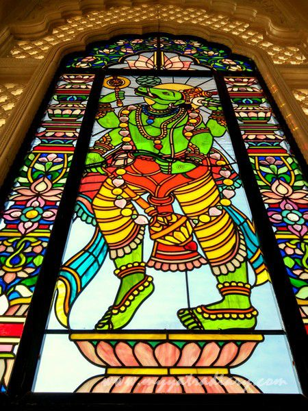 Varah avatar stained glass window vedic art gallery - ISKCON Jaipur Rajasthan