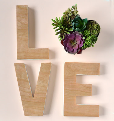 easy love letters and faux succulent heart