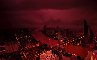Bangkok Cityscape Red Night View HD Wallpaper