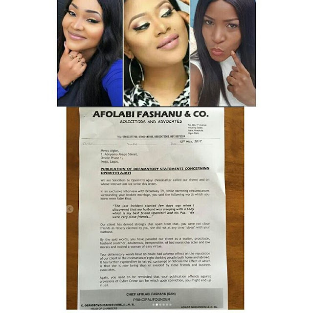 Lawyers sues Linda Ikeji and Mercy Aigbe demands N500m each for defamation