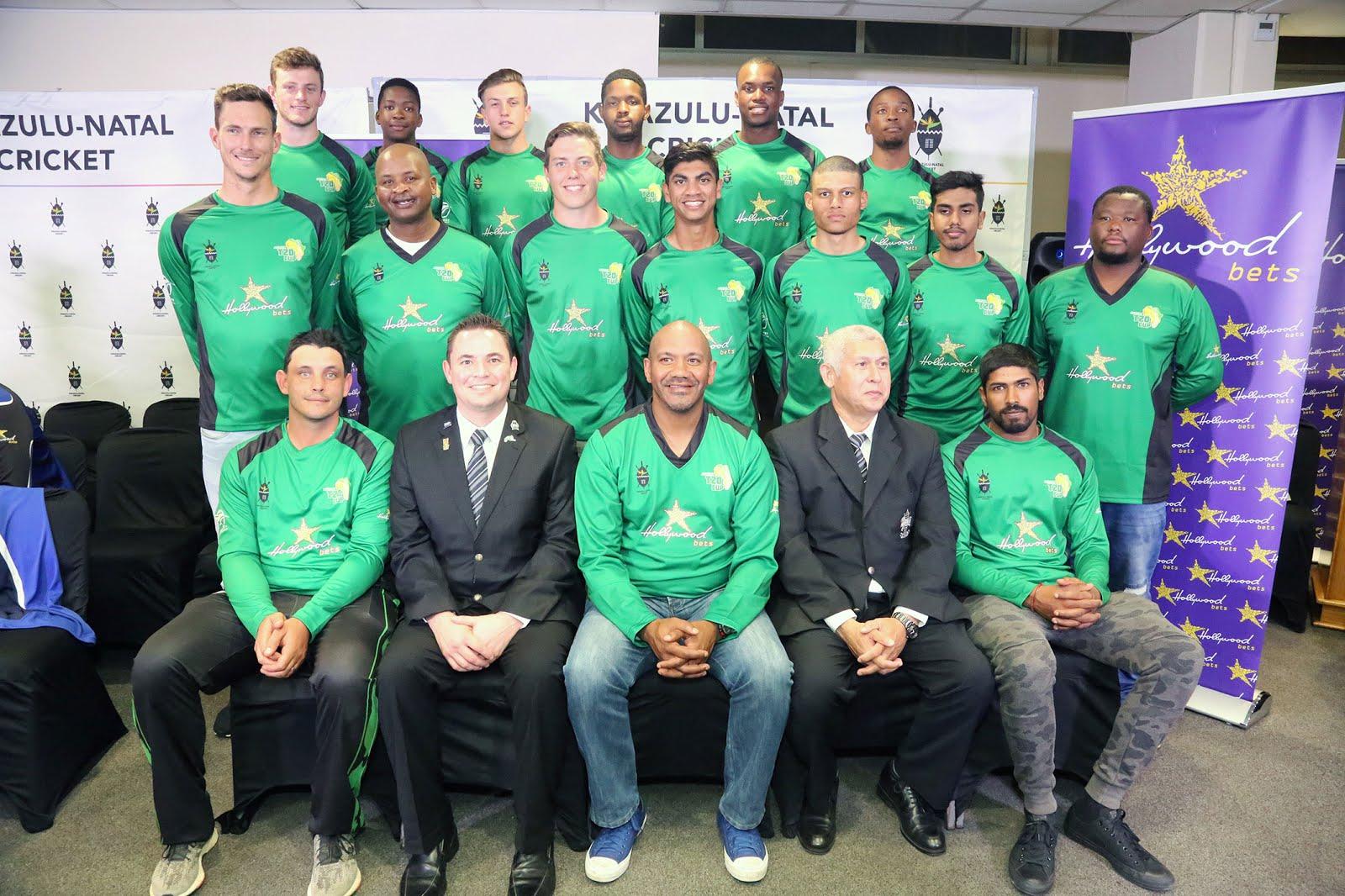 Hollywoodbets KZN Coastal Team - Africa T20 Cup - Team Photo - Vaughn van Jaarsveld - Roger Telemachus - Prenelan Subrayen - Calvin Savage - Heinrich Strydom