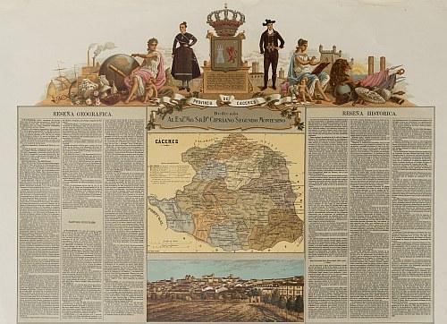 Provincia de Cáceres por Francisco Boronat y Satorre (1850). Cartoteca Histórica Digital de Extremadura