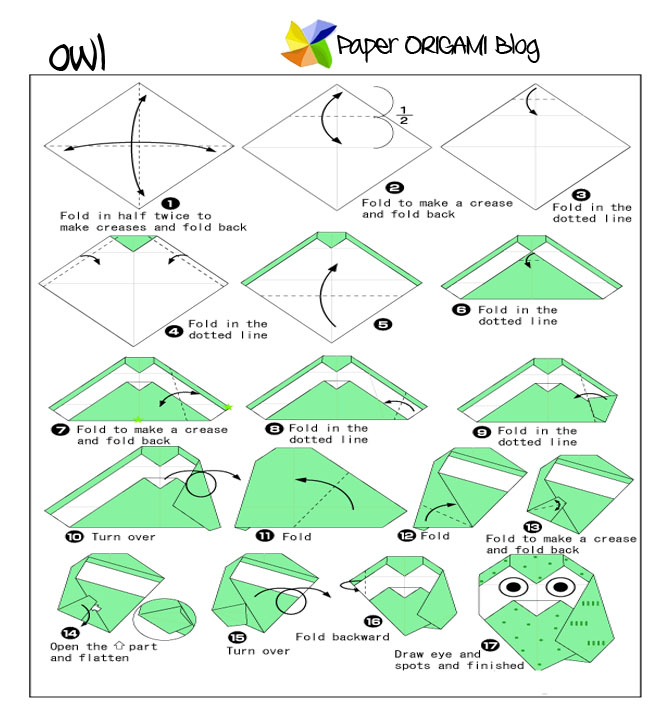 Owl Origami Folding Diagram | Origami Photos