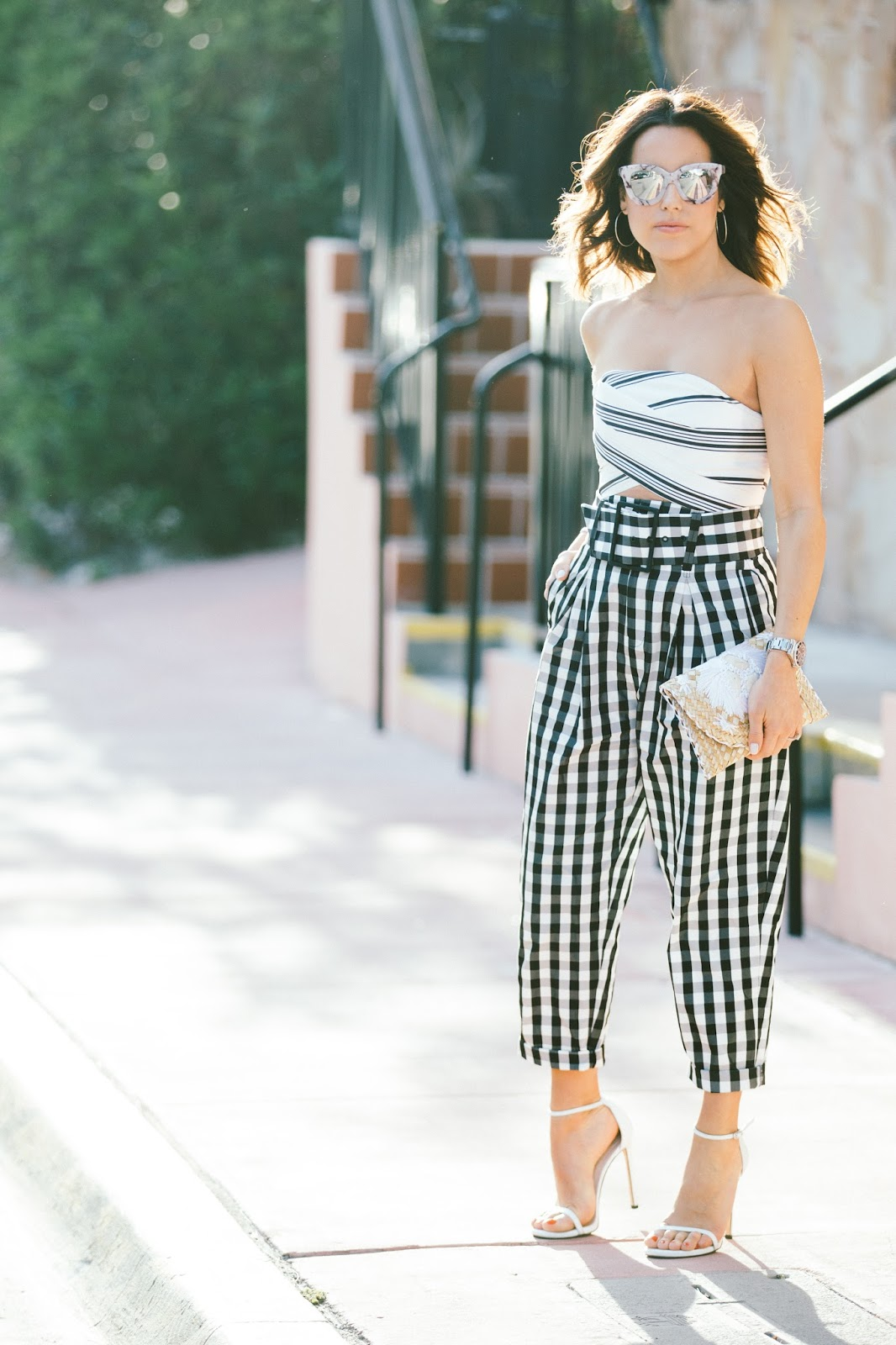 stripe-crop-top-gingham-trousers-fashion