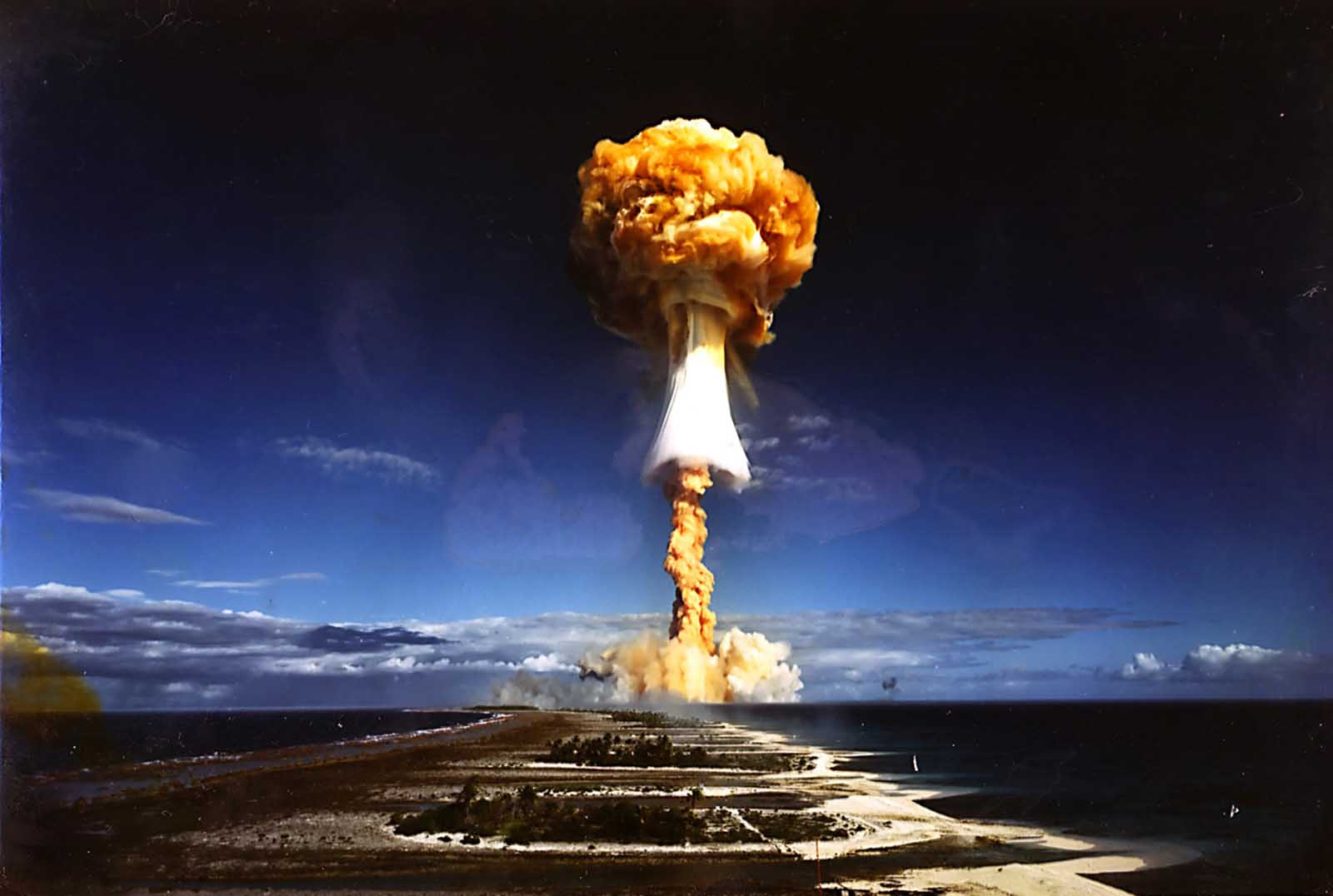 A photo of a nuclear bomb detonated by the French government at the Moruroa atoll, French Polynesia.