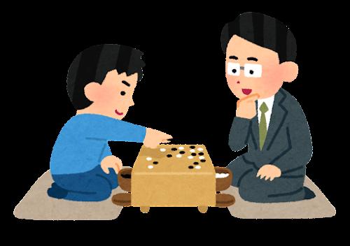 囲碁の指導のイラスト