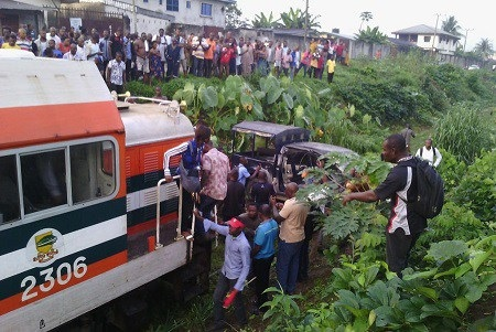 Horror! Train Crushes Police Patrol Vehicle in Port Harcourt Rivers State (Photo)
