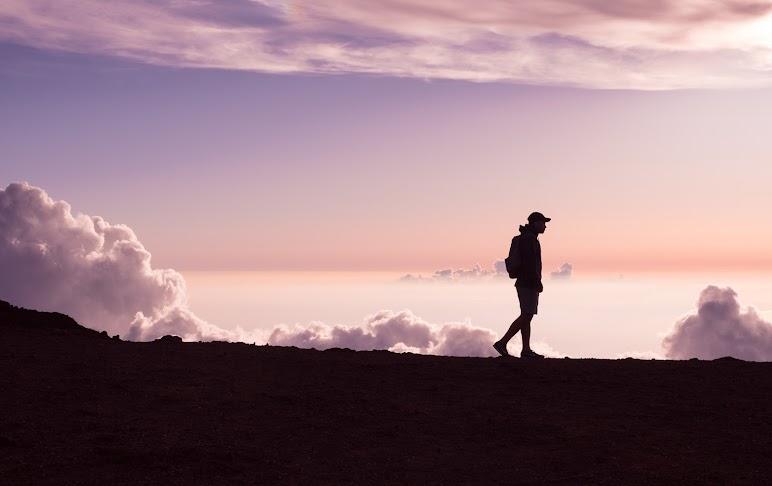 Walkingman Silhouette And Purple Sky