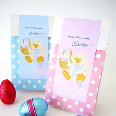 Free Pink & Blue Easter Party Favor Bag Labels