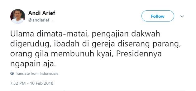 Andi Arief : Ulama Dimata-matai, Dibunuh, Gereja Diserang, Presidennya Ngapain Aja?
