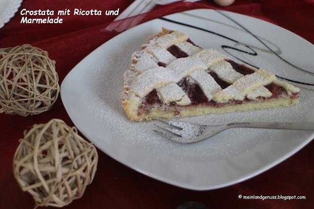 Crostata mit Ricotta und Marmelade