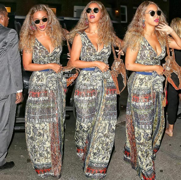 Beyonce steps out in long garment as dinners with husband JayZ in New York