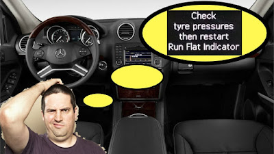 Check tyre pressures then restart run flat indicator