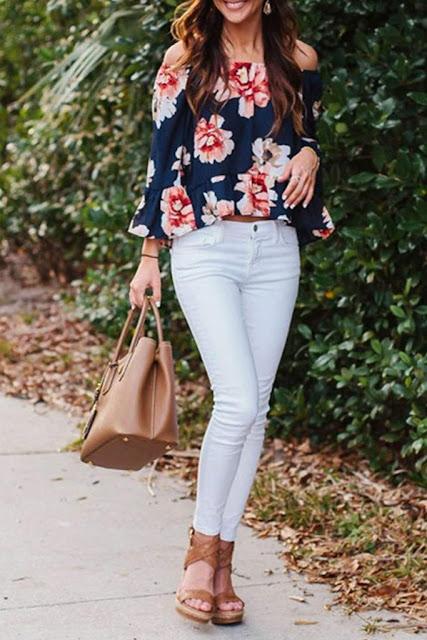 Iyasson Women Off Shoulder Floral Plus Size Blouse