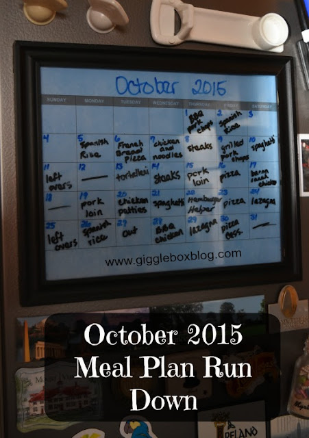 dinner meal plans for the month of October 2015,