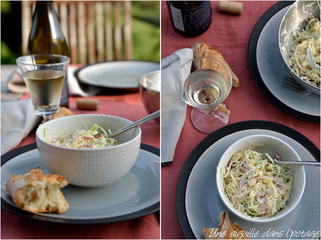 cabbage salad with bacon, yoghurt-mustard sauce
