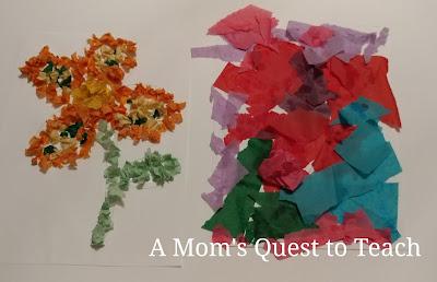 Tissue paper, kids crafts, flowers