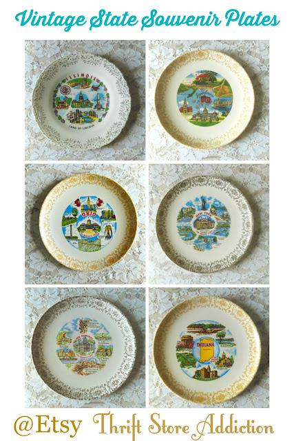 vintage state souvenir plates