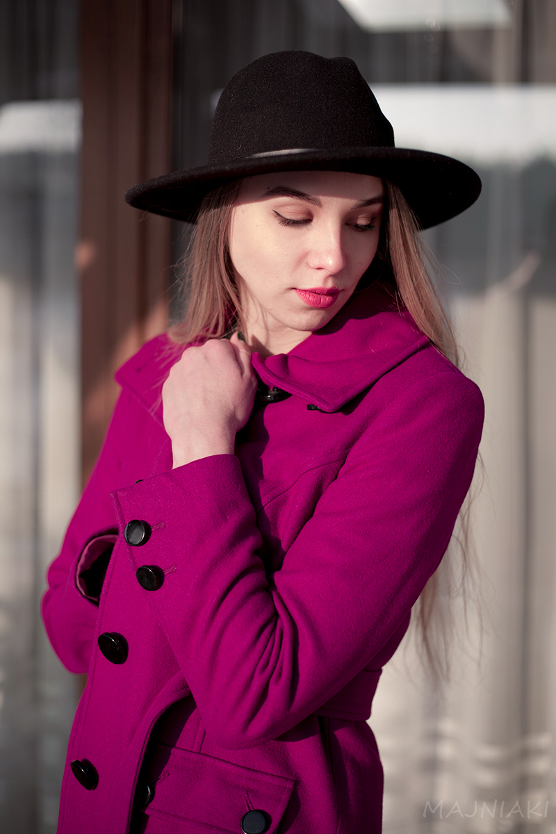 Magenta jacket and over knee boots