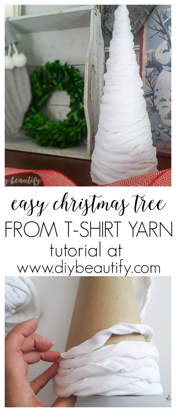 DIY Christmas tree from t-shirt yarn