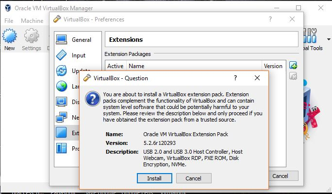 oracle vm virtualbox extension pack installation