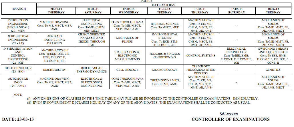 Jntu Hyd Btech 2-1 supple R05 Supple Time Table May June