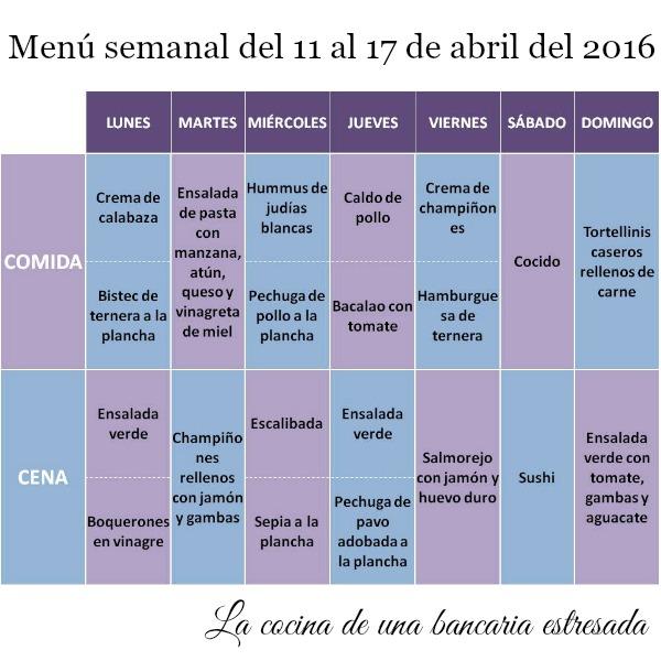 Menú semanal del 11 al 17 de abril de 2016