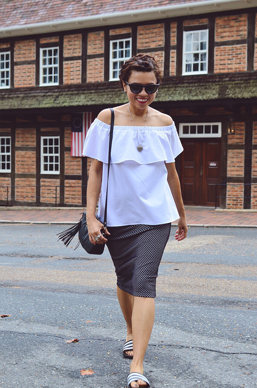 Off the shoulder top street style