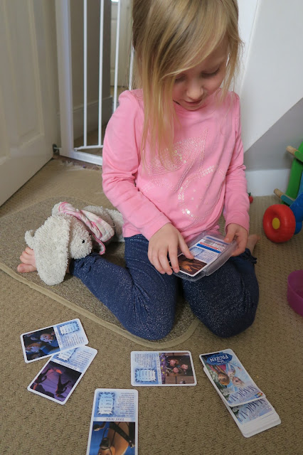 Lily sorting the cards