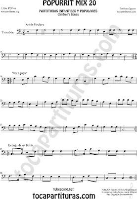 Partitura de Trombón y Bombardino Sheet Music for Popurrí Mix 20 Partituras de Antón Pirulero, Voy a Jugar, Debajo de un Botón Bass clef Trombone and Euphonium