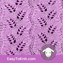Eyelet Lace 19: Diagonal Fern | Easy to knit #knittingstitches #knittingpatterns