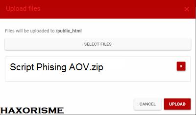 Mengupload Script Phising AOV