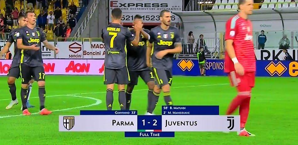 Parma-Juventus con Mandzukic e Matuidi: risultato senza il gol di Cristiano Ronaldo.