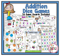Addition Dice Games with a Kid Theme
