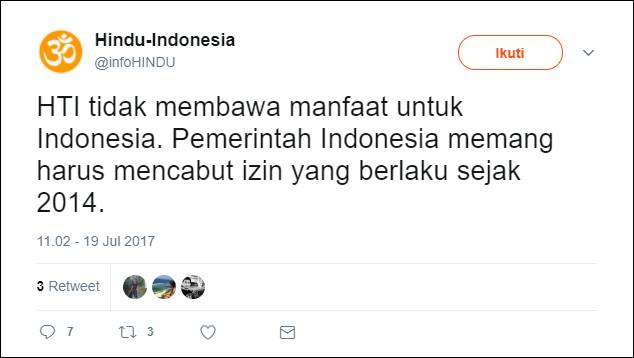 Akun Hindu-Indonesia: HTI Tidak Bawa Manfaat Bagi Indonesia, Rasis, dan Fasis