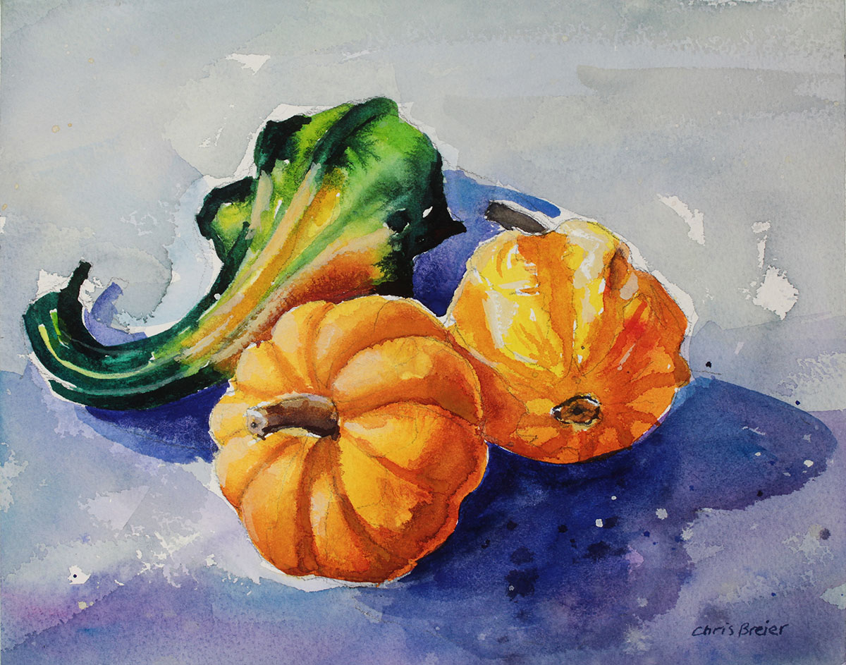 A watercolor painting of three gourds