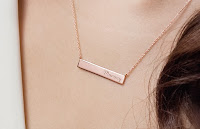Rose gold engraved necklace for mother