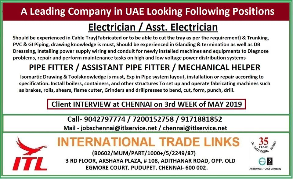 A Leading Company in Uae Looking Following Positions