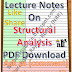 Lecture Notes on Structural Analysis PDF Download