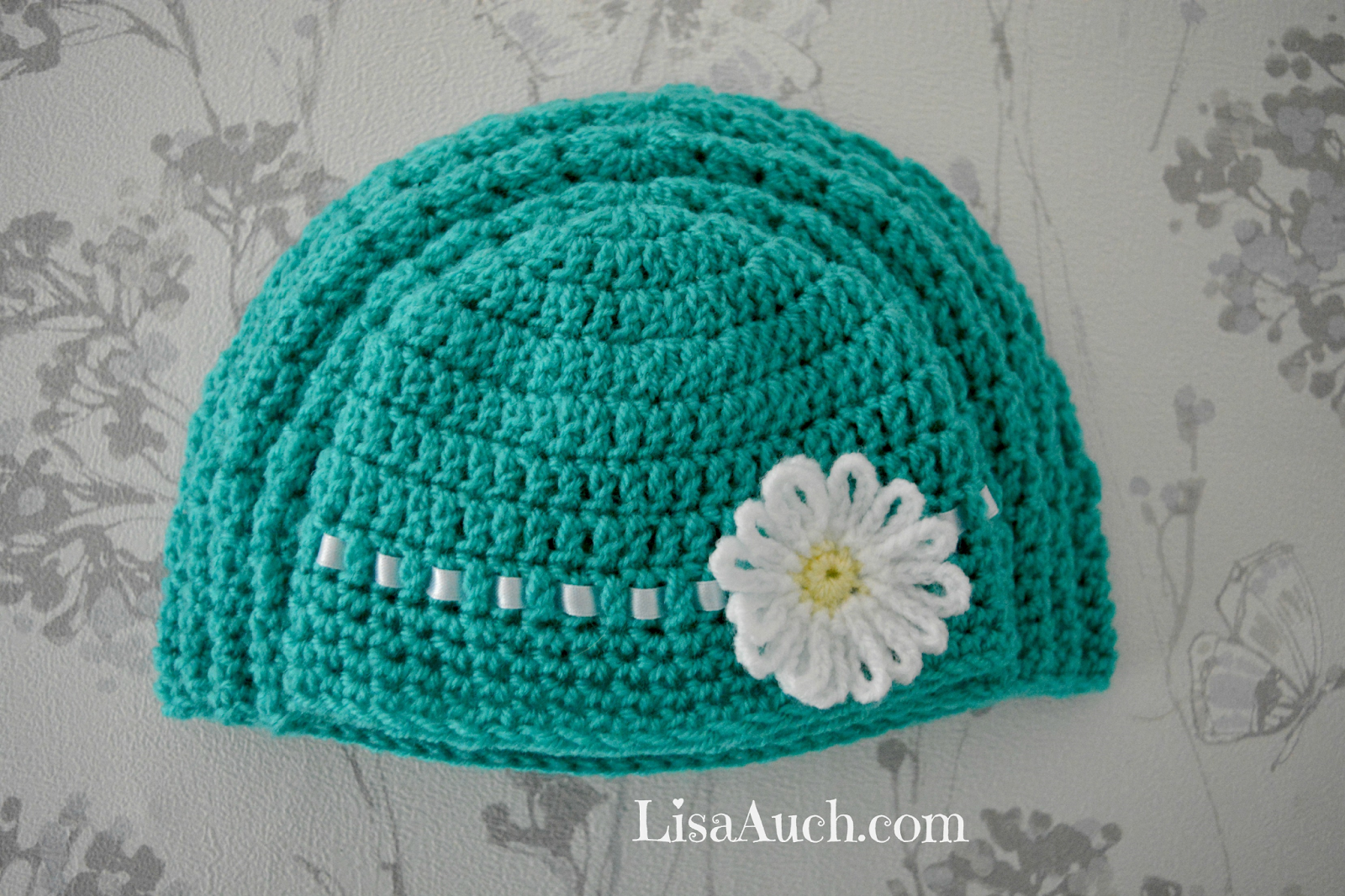 Free EASY Crochet Baby Hat Pattern with Crochet Flower (How TO ...