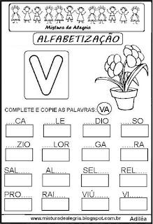 Atividades de alfabetização letra V