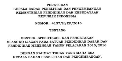 Bentuk Spesifikasi Ijazah Pendidikan Dasar dan Menengah Tahun Pelajaran 2015/2016