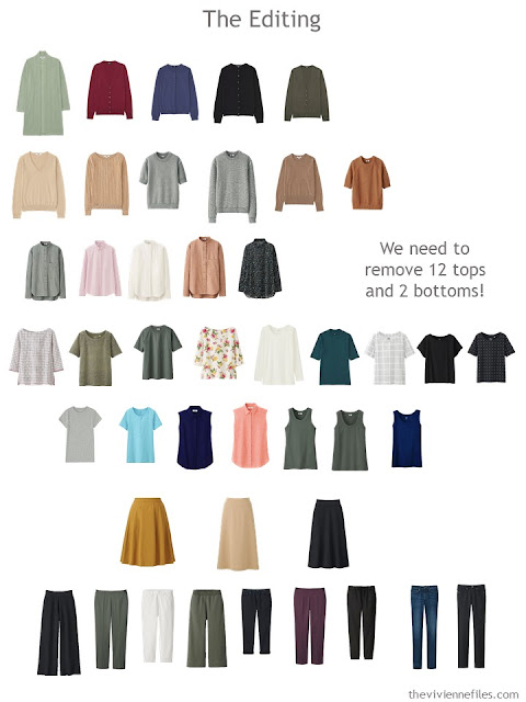 a 44-piece wardrobe, from which we wish to remove 14 pieces